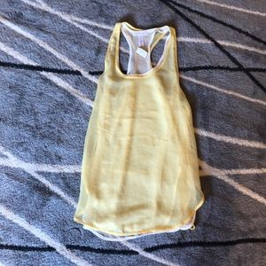 Ambiance apparel yellow and white layered tank S